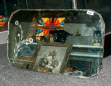 Art Deco Rectangular Shaped Mirror with engraved flowers to the mirror. 18x30''