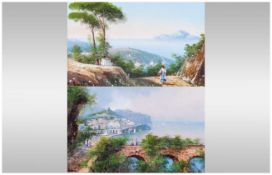 M Giani Early 20th Century Italian Artist Pair of Watercolours/Gouache, 'Naples Bay' Looking Out