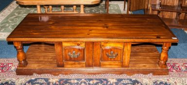 Cherrywood Low Sideboard With Baluster Turne End Supports Double Door Cupboard To The Centre With