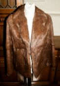 Ladies Medium Brown Coney Fur Jacket, fully lined, Collar with revers. Slit pockets, hook & loop