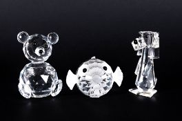 Swarovski Cut Crystal Figures ( 3 ) In Total. 1/ Large Teddy Bear 2.75 Inches High. 2/ Blow / Puffer