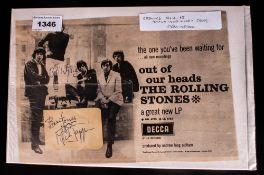 The Rolling Stones Autographs, circa 1964/65. Brian Jones, Mick Jagger & Bill Wyman