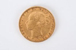 Victorian Young Head 22ct Gold Full Sovereign. Date 1875. Sydney Mint. V.F. Condition.