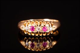 Edwardian 18ct Gold Set Ruby and Diamond 5 Stone Ring. Hallmark London 1910. Good Colour Diamond and