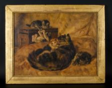 Late 19th Century Oil on Panel of a Mother Cat Washing Her Kitten with other Kittens at Play on