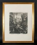 Framed Print Of Ginhane Black & White Engraving After William Hogarth 30x22''