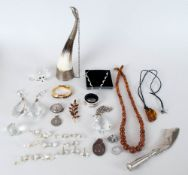Miscellaneous Lot including metal mounted horn drinking vessel, three very large crystal