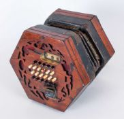 A 19th Century Early Concertina Probably By Wheatstone, 4 bellows, 48 keys. Labels MIssing but looks