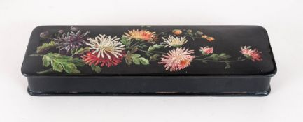 Victorian Glove Box black lacquered papier mache with floral decoration to lid.