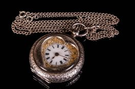 Swiss Very Fine Ornate Silver Ladies Open Faced Pocket Watch with Heart Shaped Dial with Gold