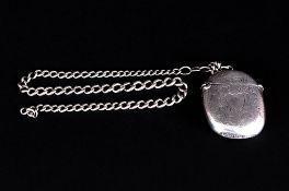 Edwardian Silver Hinged Vesta Case. Hallmark Birmingham 1902 with Attached Silver Albert Chain. 12