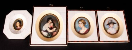 Four Miniatures In Faux Ivory Frames, Depicting Classical Women All Hand Painted, Indistinctly