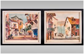 Pair Of Prints Of Valbonne Cap. Ferrat By Doyly John in contemporary white  frames, glazed.