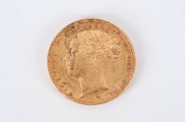 Victorian Young Head 22ct Gold Full Sovereign. Date 1886. Melbourne Mint. E.F. Condition.