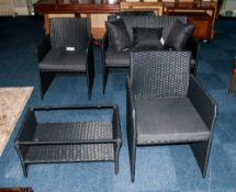 Modern Four Piece Black Conservatory Suite in unused condition, with a black weave finish. With
