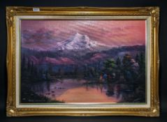 Unusual Oil on Board, SIgned Keith Sutton and Titled Mount Hood, Oregon, Depicting a Moonlight
