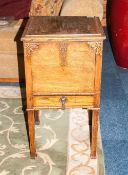 1930's Oak Sewing Box On Square Legs with a lift up lid, with a single drawer below. Moulding to the