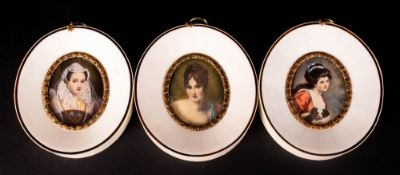 Set of Three Oval Miniatures In Faux Ivory Frames, Painted with Classical Women of The Period. 5 x 4