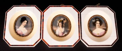 Set of Three Miniatures In Faux Ivory Frames, Hand Painted Depicting Elegant Ladies of The Period.