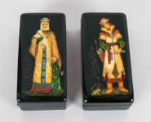 A Pair Of Extremely Fine Quality Authentic Russian Lacquer Table Boxes Hand painted with infinite