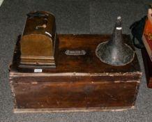 Thomas Edison Gem Phonograph In An Oak Carrying Case. Model Serial Number G.108277 with Tin Horn,