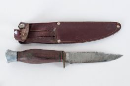 J Nowill & Sons Fixed Blade Knife With Leather Scabbard.