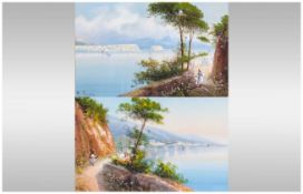 M Giani Early 20th Century Italian Artist Pair of Watercolours/Gouache, Bay Of Naples, Figures In