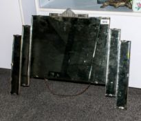 A 1930's Deco Mirror Of Unusual Shape with a rectangular centre & 2 applied side strips. 24x18''