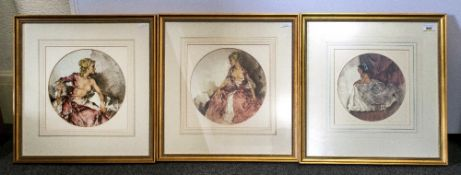 Set Of Three Russell Flint Coloured Prints, 10'' in diameter, Elegant Ladies, Framed & Glazed.