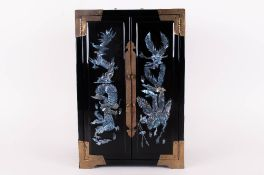 Oriental Style Jewellery Box - With mother of pearl dragon decoration to the front. 2 doors open