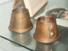 Pair Of Brass Trench Military Cast Brass Shell Case Match Stick Holders, military crest to front.