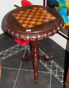 Victorian Walnut & Mahogany Chess Top Inlaid Table with an usual scalloped edge with shaped Cabriole