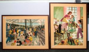 Two Large French Coloured Prints. One Depicting a Child being Fed In a High Chair, Signed Poiriz