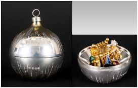 Stuart Devlin - A Silver and Silver Gilt Christmas Tree Bauble. Hallmark London 1983, Makers Mark