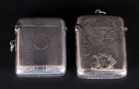 George V Silver Vesta Case, Hallmark Birmingham 1919. 1.75 Inches High + 1 Other. ( 2 ) In Total.