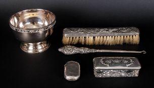A Collection of Antique Silver Items ( 5 ) In Total. 1/ Silver Vesta Case, Hallmark Birmingham 1891.