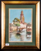 Smythe Watercolour Scenes Of Venice Canal, Mounted & Framed. Behind Glass. 13.5x9.5''