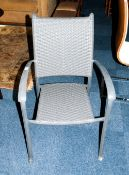 Grey Wicker Garden Chair with arms