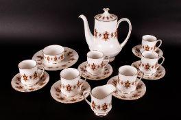 Paragon Coffee Set ' Flamenco ' Pattern. 6 Cups and Saucers, Coffee Pot, Milk Jug, Sugar Basin and