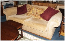 Large Beige 3 Seater Sofa, Modern Design With 5 Scatter Cushions