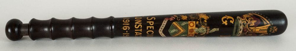 Police Special Constable's Truncheon turned and painted with the coat of arms of the Borough of