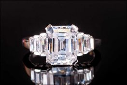 Limited Edition 'The Art Deco Ring' April 2005, octagon and baguette cut CZs set in silver, in a