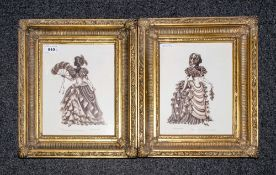 Pair Of Limited Edition Prints In Gilt Frames By Pamela Dickenson 44/500, pencil signed to the