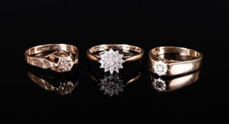 Ladies - Vintage 9ct Gold and Diamond Set Rings. Fully Hallmarked, ( 3 ) Rings In Total. 6.2 grams.