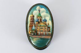 Fine Quality Oval Shaped Russian Lacquer Table Box hand painted depicting beautiful scene of Russian