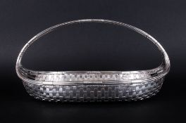 A Vintage Good Quality Silver Plated Weave Pattern Fruit Basket with Handle. 6.5 Inches High & 12