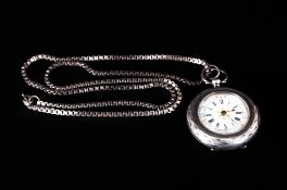 Swiss - Fine and Ornate Silver Circular Ladies Fob Watch. The Very Fine Porcelain Dial Set with Gold