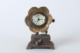Clock In Brass Gramophone Casing.