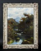 Oil on Canvas Landscape Scene, Mountain and River, Bridge Crossing. Signed A. St.Clare. In White