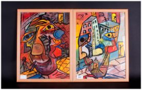 21st Century Artist Robert Haworth Pair Of Acrylic Abstract Paintings. 13x17''
